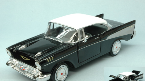 CHEVY BEL AIR 1957 BLACK W/WHITE ROOF 1:24