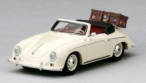 PORSCHE 356 CABRIOLET IVORY WITH LUGGAGE 1/43