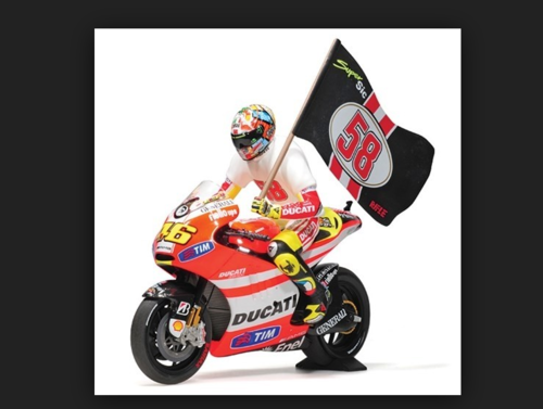 DUCATI DESMOSEDICI GP 11.2 V. ROSSI MOTOGP 2011 'TRIBUTE TO MARCO' WITH FIGURINE AND WITH FLA